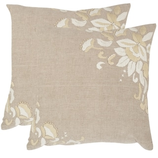 Safavieh Victoria Beige 18-inch Square Throw Pillows (Set of 2)