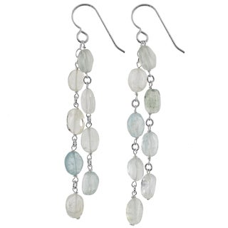 Ashanti Sterling Silver Aquamarine Gemstone Handmade Earrings (Sri Lanka)