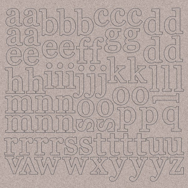 "Chipboard Alphabet 12""X12""-1"" Lowercase Letters"