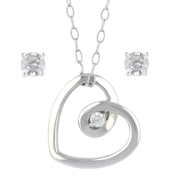 Sunstone Sterling Silver Heart Swarovski Zirconia Stud Necklace Earrings Set with Gift Box