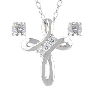 Sunstone Sterling Silver Cross Swarovski Zirconia Necklace Stud Earrings Set