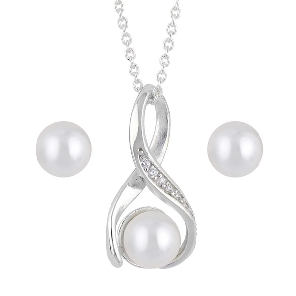 Sunstone Sterling Silver Freshwater Pearl Cubic Zirconia Infinity Necklace Earrings Set in Gift Box (7 mm)