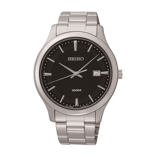 Seiko Men's SUR051 Stainless Steel Black Dial Watch