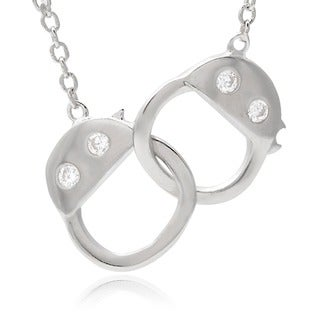Journee Collection Sterling Silver Cubic Zirconia Handcuffs Necklace