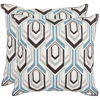 Safavieh Indie Brown/ Grey 18-inch Square Throw Pillows (Set of 2)