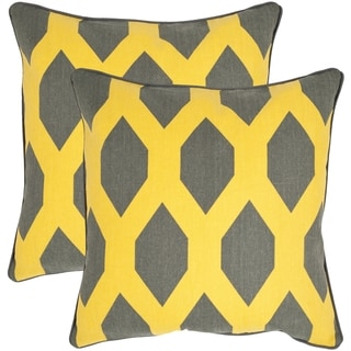 Safavieh Allen Yellow/ Grey 18-inch Square Throw Pillows (Set of 2)
