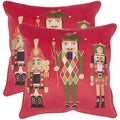 Safavieh Nutcracker Red 18-inch Square Throw Pillows (Set of 2)