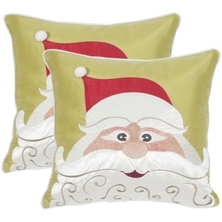 Safavieh Santa'S Red/ Green 18-inch Throw Pillows (Set of 2)