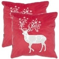 Safavieh Silver Red 18-inch Throw Pillows (Set of 2)