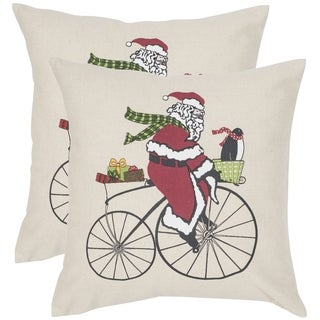 Safavieh Santa Beige/ Multi 18-inch Square Throw Pillows (Set of 2)