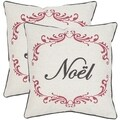 Safavieh Noel Beige/ Red 18-inch Throw Pillows (Set of 2)
