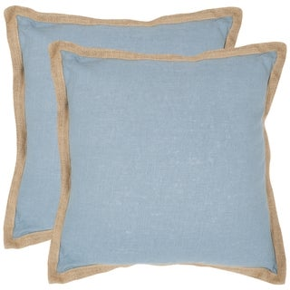 Safavieh Madeline Sky/ Blue 18-inch Square Throw Pillows (Set of 2)