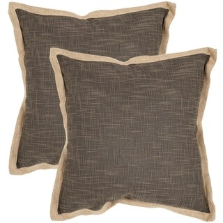 Safavieh Madeline Brown 18-inch Square Throw Pillows (Set of 2)