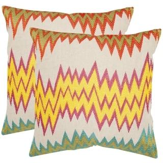 Safavieh Ashley Neon/ Yellow 22-inch Square Throw Pillows (Set of 2)