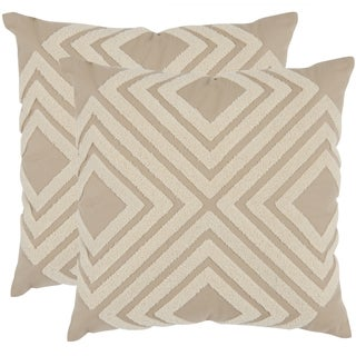 Safavieh Stella Cream 18-inch Square Throw Pillows (Set of 2)