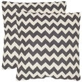 Safavieh Striped Telea Charcoal 18-inch Square Throw Pillows (Set of 2)