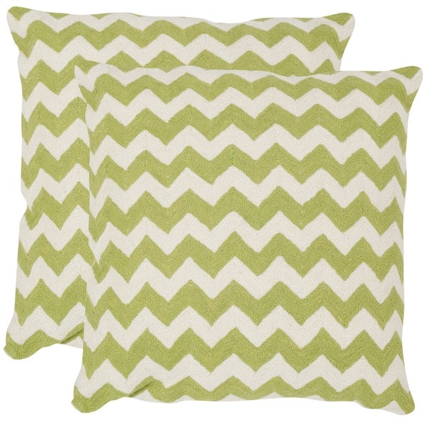 Safavieh Striped Telea Lime/ Green 22-inch Square Throw Pillows (Set of 2)