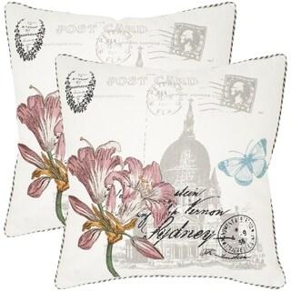 Safavieh Gloria White 22-inch Square Throw Pillows (Set of 2)
