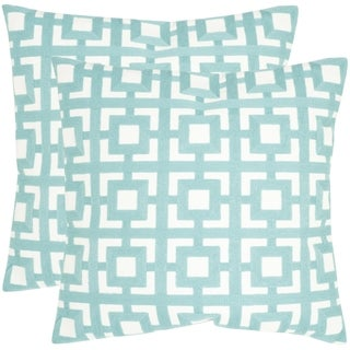 Safavieh Emily Turquoise 18-inch Square Throw Pillows (Set of 2)