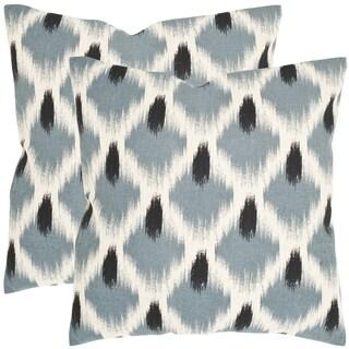 Safavieh Alex Blue 18-inch Square Throw Pillows (Set of 2)
