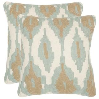 Safavieh Argo Dusk Blue 20-inch Square Throw Pillows (Set of 2)