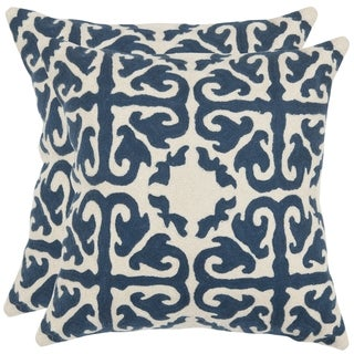 Safavieh Morrocan Navy Blue 18-inch Square Throw Pillows (Set of 2)
