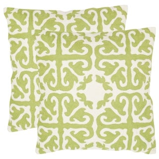 Safavieh Morrocan Lime/ Green 18-inch Square Throw Pillows (Set of 2)