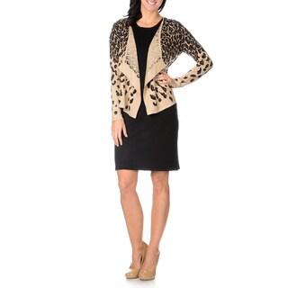 Lennie for Nina Leonard Womens Short Cap Sleeve Sweater Dress with Leopard Print Cardigan