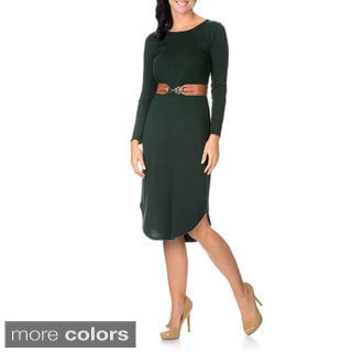 Lennie for Nina Leonard Long Sleeve Womens Sweater Dress with Belt