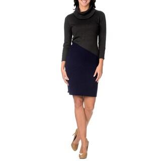 Lennie for Nina Leonard Womens Long Sleeve Cowl Neck Sweater Dress Two-Toned