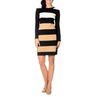 Lennie for Nina Leonard Womens Long Sleeve Wide Striped Sweater Dress