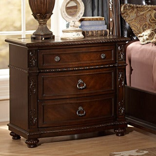 Oakmont Manor Cherry Traditional 3-drawer Marble Top Nightstand