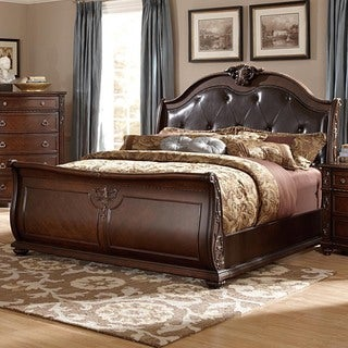Oakmont Manor Black Leather Tufted Bed