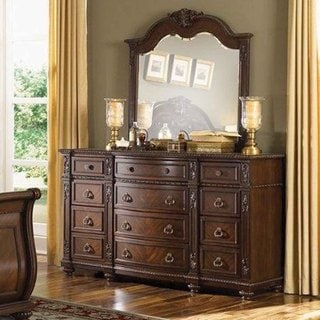 Oakmont Manor Cherry Traditional 12-drawer Marble Top Dresser and Mirror