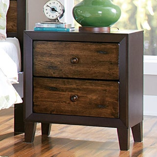 TRIBECCA HOME Draven Rustic Espresso Drifted Oak 2-drawer Nightstand