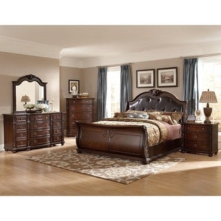 Oakmont Manor Black Leather Tufted 5-Piece Marble Top Bedroom Set