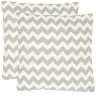 Safavieh Striped Telea Light Grey 18-inch Square Throw Pillows (Set of 2)