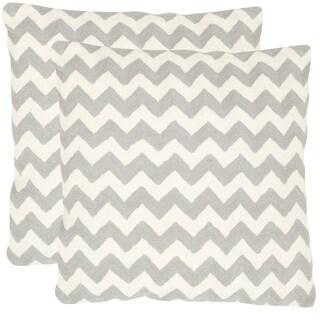 Safavieh Striped Telea Light Grey 22-inch Square Throw Pillows (Set of 2)