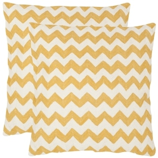Safavieh Striped Telea Mustard 18-inch Square Throw Pillows (Set of 2)
