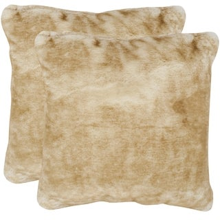 Safavieh Faux Fox Light Brown 20-inch Square Throw Pillows (Set of 2)