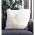 Safavieh Faux White Beaver White 20-inch Square Throw Pillows (Set of 2)