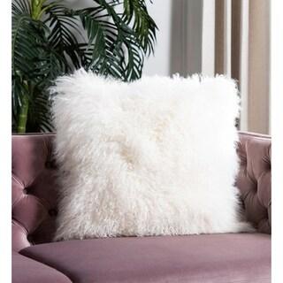 Safavieh Natural Sheepskin White 20-inch Square Throw Pillows (Set of 2)