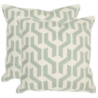 Safavieh Minos Misty Mint 20-inch Square Throw Pillows (Set of 2)