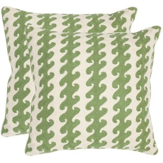 Safavieh Linos Green 20-inch Square Throw Pillows (Set of 2)