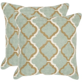 Safavieh Samson Amist Green 20-inch Square Throw Pillows (Set of 2)