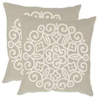 Safavieh Joanna Beige 18-inch Square Throw Pillows (Set of 2)