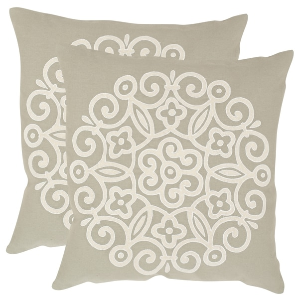 Safavieh Joanna Beige 20-inch Square Throw Pillows (Set of 2)