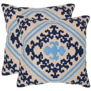 Safavieh Kev Indigo 18-inch Square Throw Pillows (Set of 2)