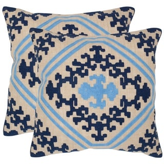 Safavieh Kev Indigo 22-inch Square Throw Pillows (Set of 2)