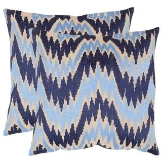 Safavieh Adam Indigo 18-inch Square Throw Pillows (Set of 2)